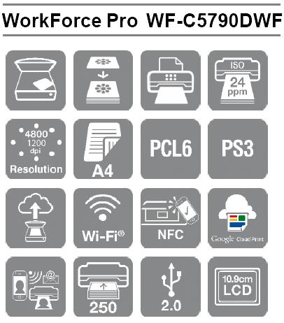 Características de Impresora WorkForce Pro WF-C5790DWF de alto rendimiento