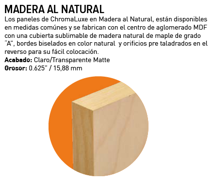 Chromaluxe Madera Natural Maple Plate mate 1 lado negro 15,88 mm