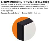Chromaluxe Lámina de Fibra MDF Blanco brillo 1 lado negro-negro 15 mm